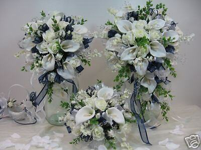 silk flowers wedding bridal bouquet navy package ebay. Black Bedroom Furniture Sets. Home Design Ideas