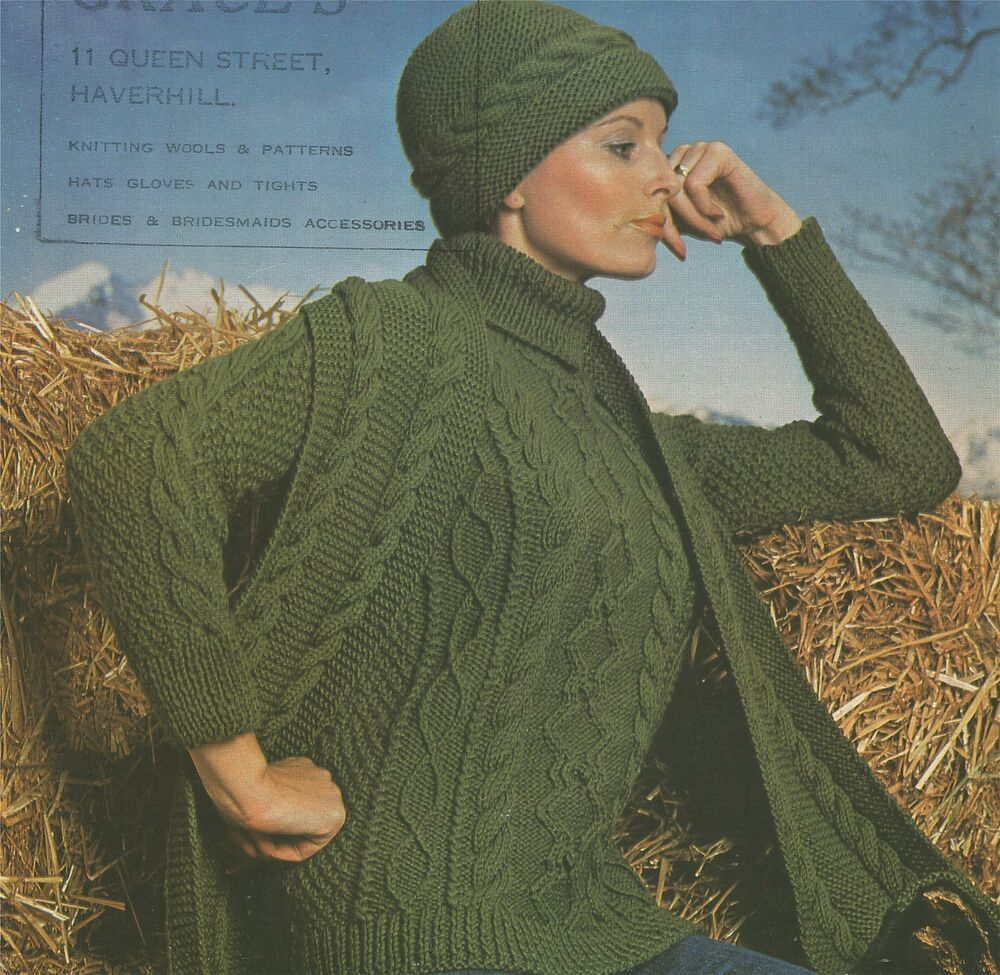 Owl Jumper Knitting Pattern : Ladies Aran Sweater Hat & Scarf Knitting Pattern : 32 34 36 38 inch bust ...