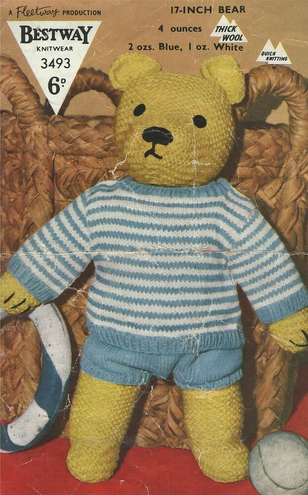 Toy Teddy Bear & Clothes Knitting Pattern : 17 inch Teddy eBay