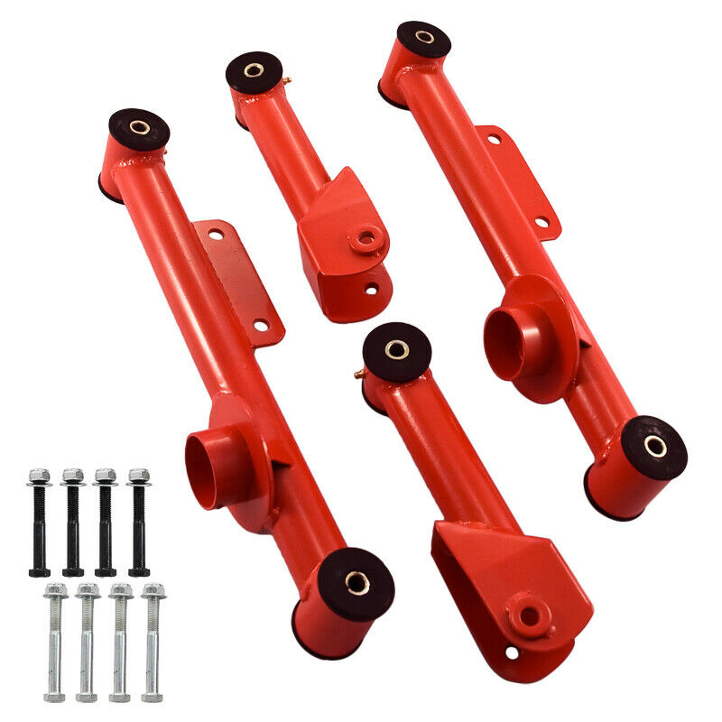 Ford Camber >> 1979-2004 Mustang RED Upper & Lower Rear Tubular Control Arms 4 piece Kit | eBay