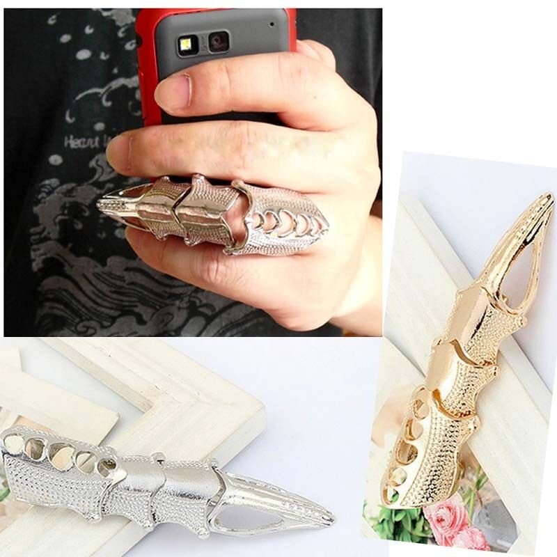 Cool! Lady Men Punk Full Finger Joint Cap Armor Knuckle ...