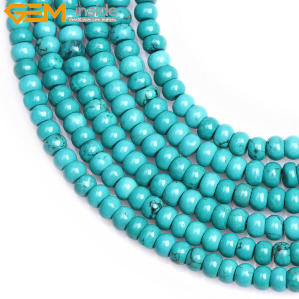 Wholesale Rondelle Blue Turquoise Stone Spacer Beads For Jewelry Making 15