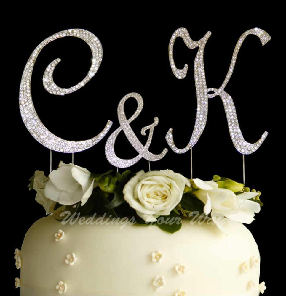 Cake Toppers Letters : Rhinestone Cake Topper Letter 12cm Crystal Diamante ...
