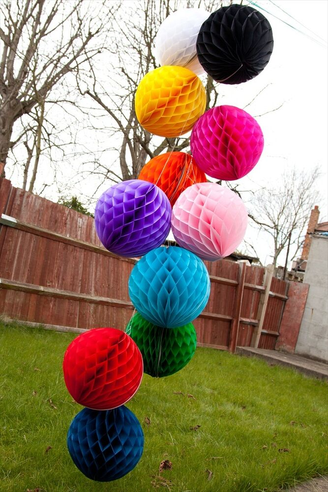 Christmas hanging honeycomb balls paper lanterns for garland party decorations ebay - Hanging paper balls decorations ...