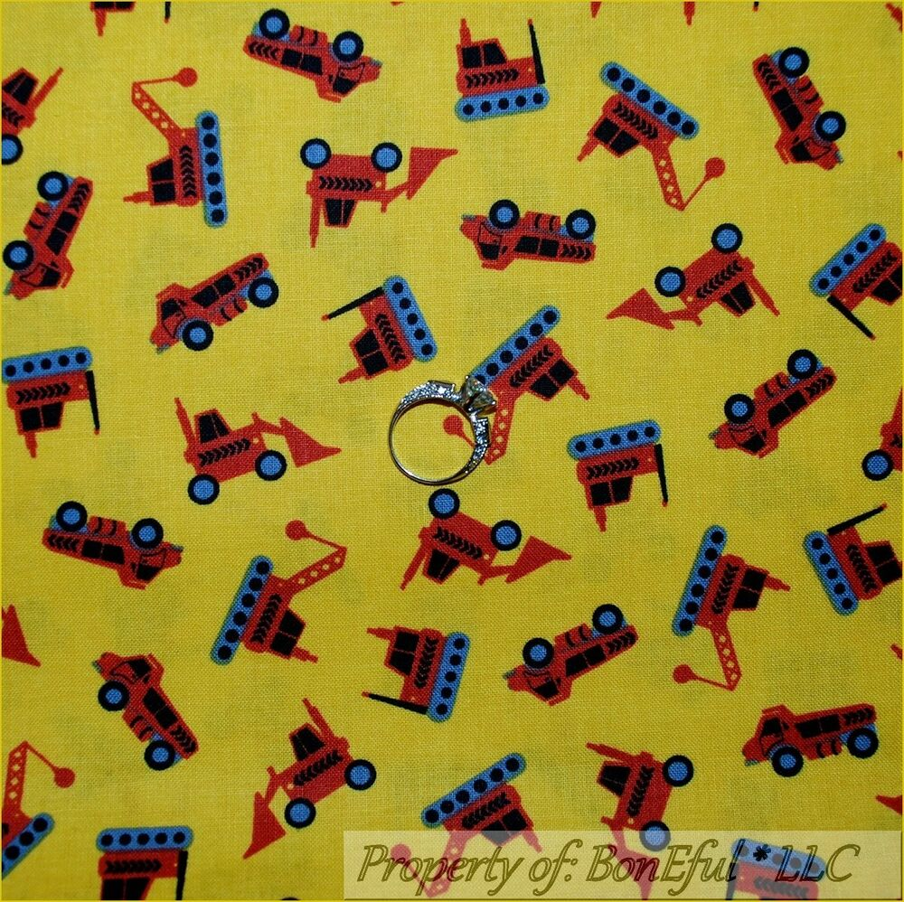 Boneful fabric fq cotton quilt yellow red boy truck for Baby monster fabric