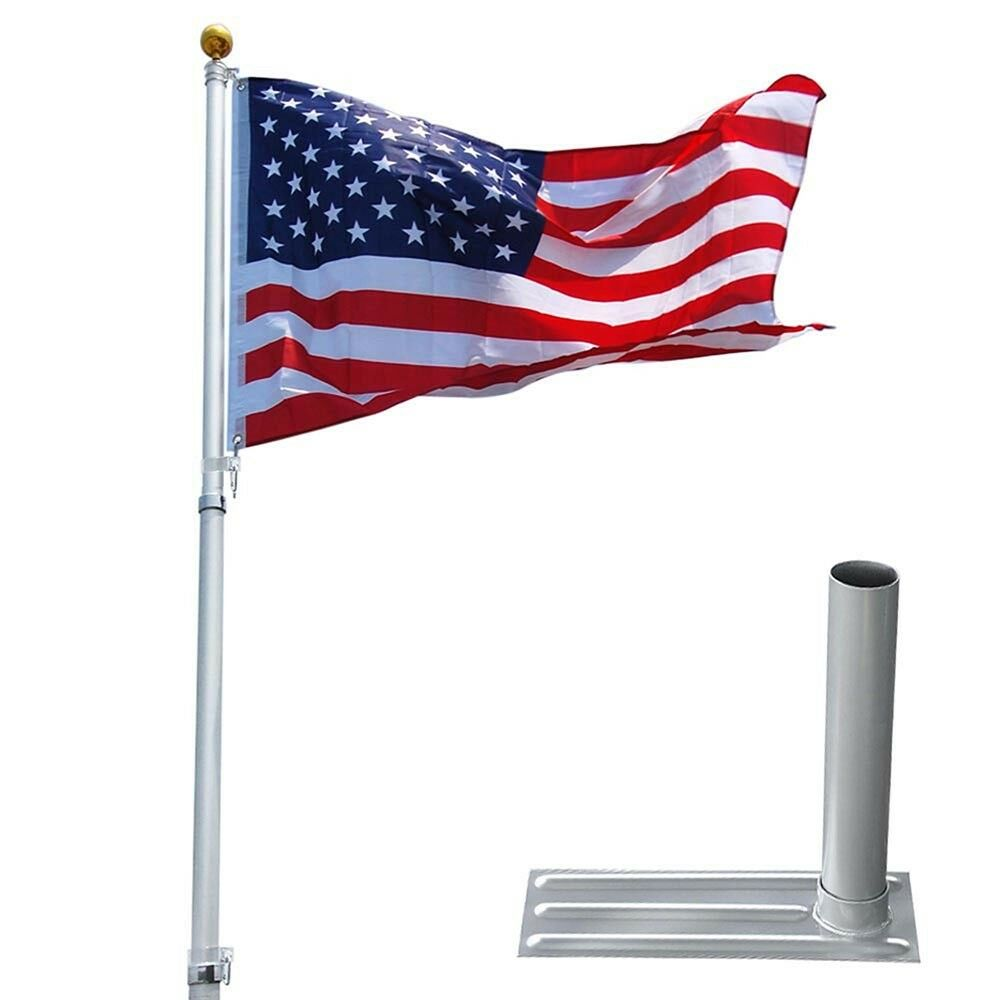 25 Ft Telescopic Aluminum Flagpole Tire Mount Stand Kit 3