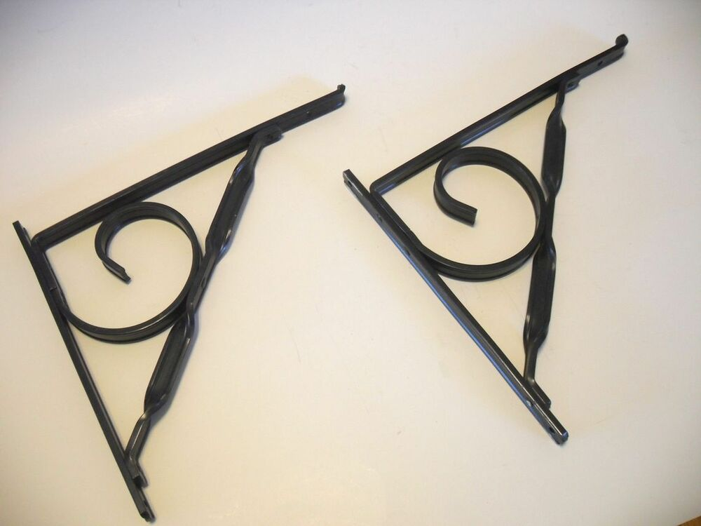 2 black angled 8 wall shelf brackets supports wrought iron look decorative alum ebay. Black Bedroom Furniture Sets. Home Design Ideas
