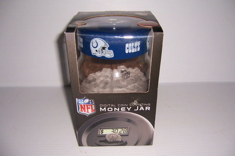 Indianapolis colts nfl digital coin counting money jar bank new in box ebay - Coin bank that counts money ...