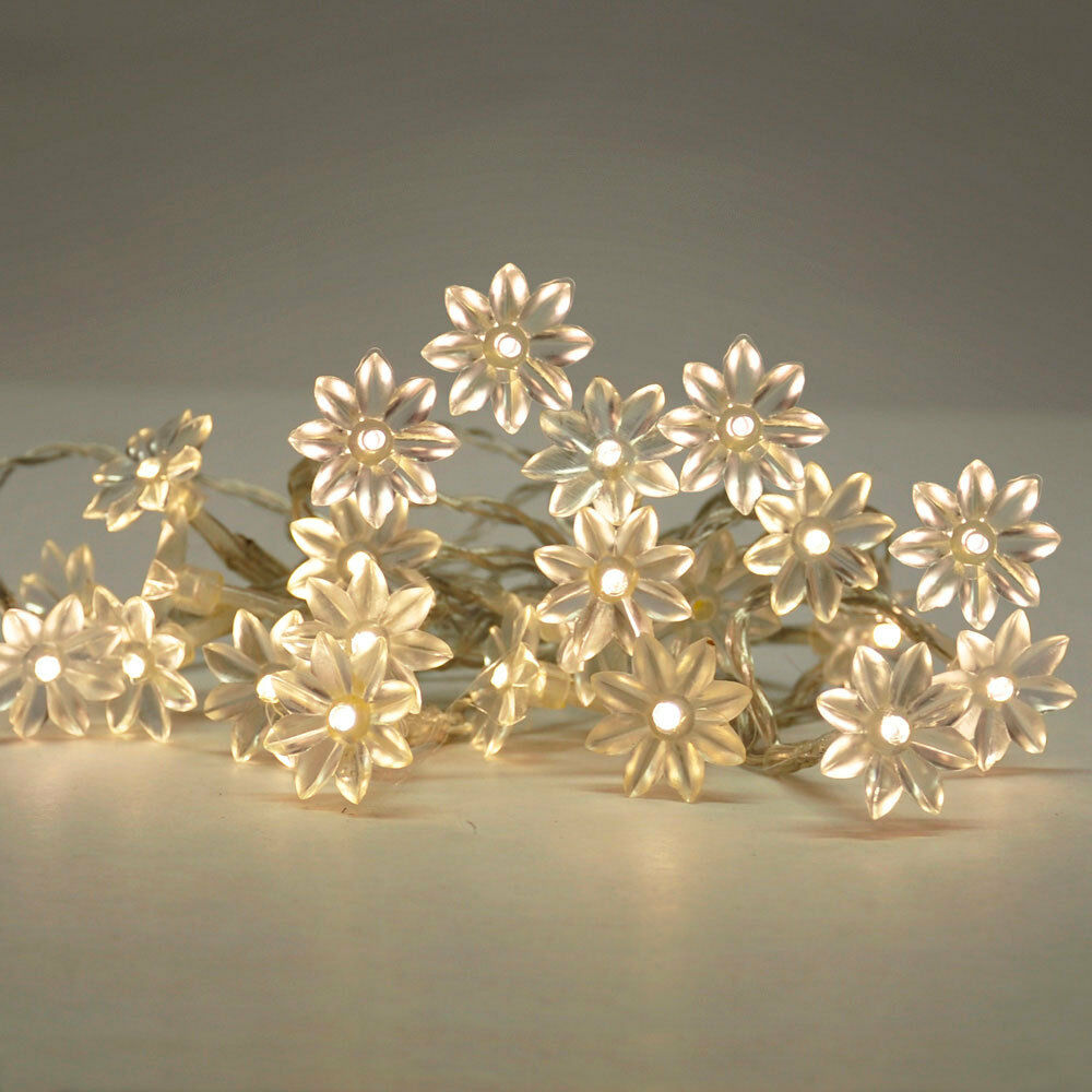 20 Battery Operated Warm White Flower LED Flowers Fairy String Lights / Lamp Set eBay