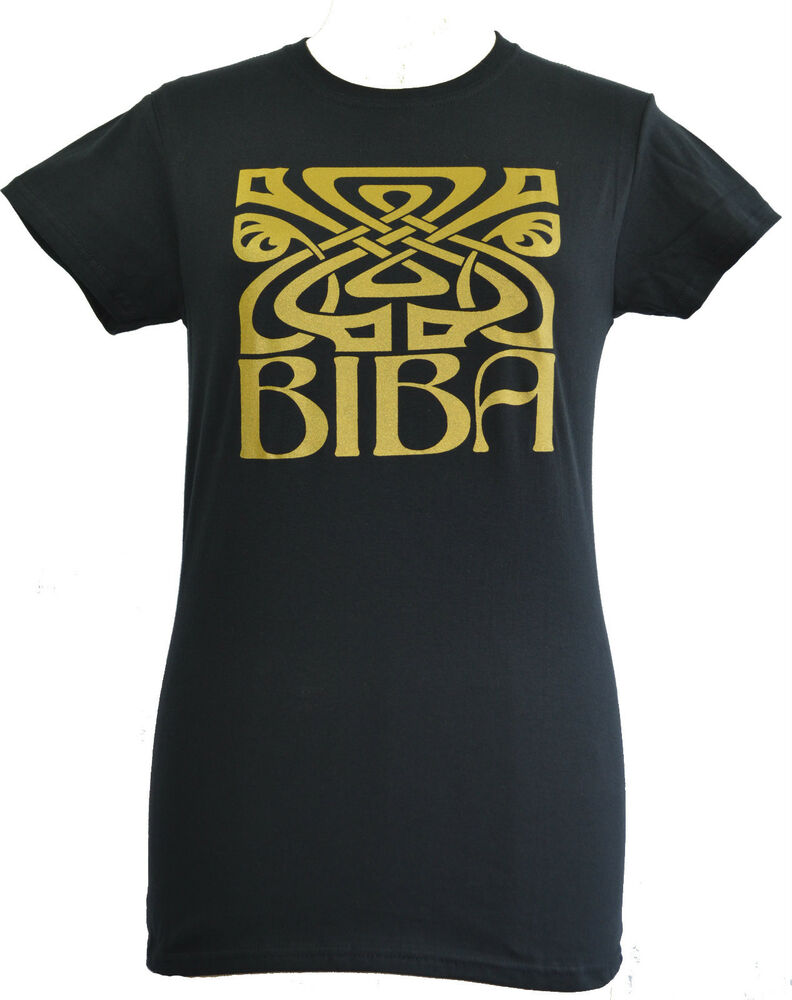Ladies tshirt biba deco logo retro cult gold screen print for Vintage screen print t shirts