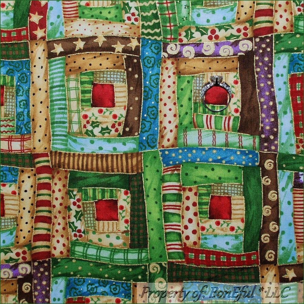 Boneful Fabric Fq Cotton Quilt Xmas Calico Red Green Gold