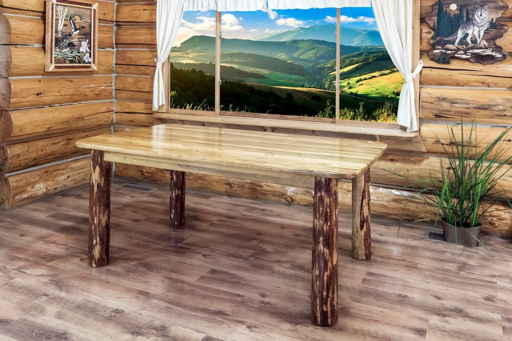 Log Dining Room Tables 6 Ft Cabin Lodge Solid Pine Amish Made Tables