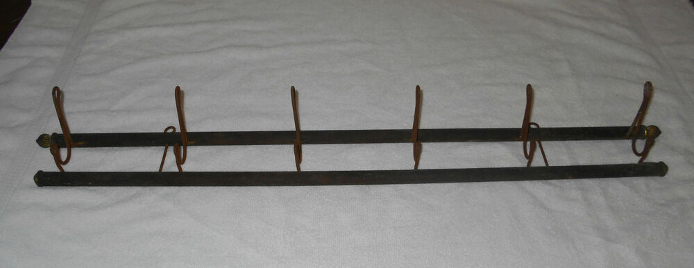 UNIQUE ANTIQUE PRIMITIVE COAT RACK WITH 6 OLD HOOKS VERY