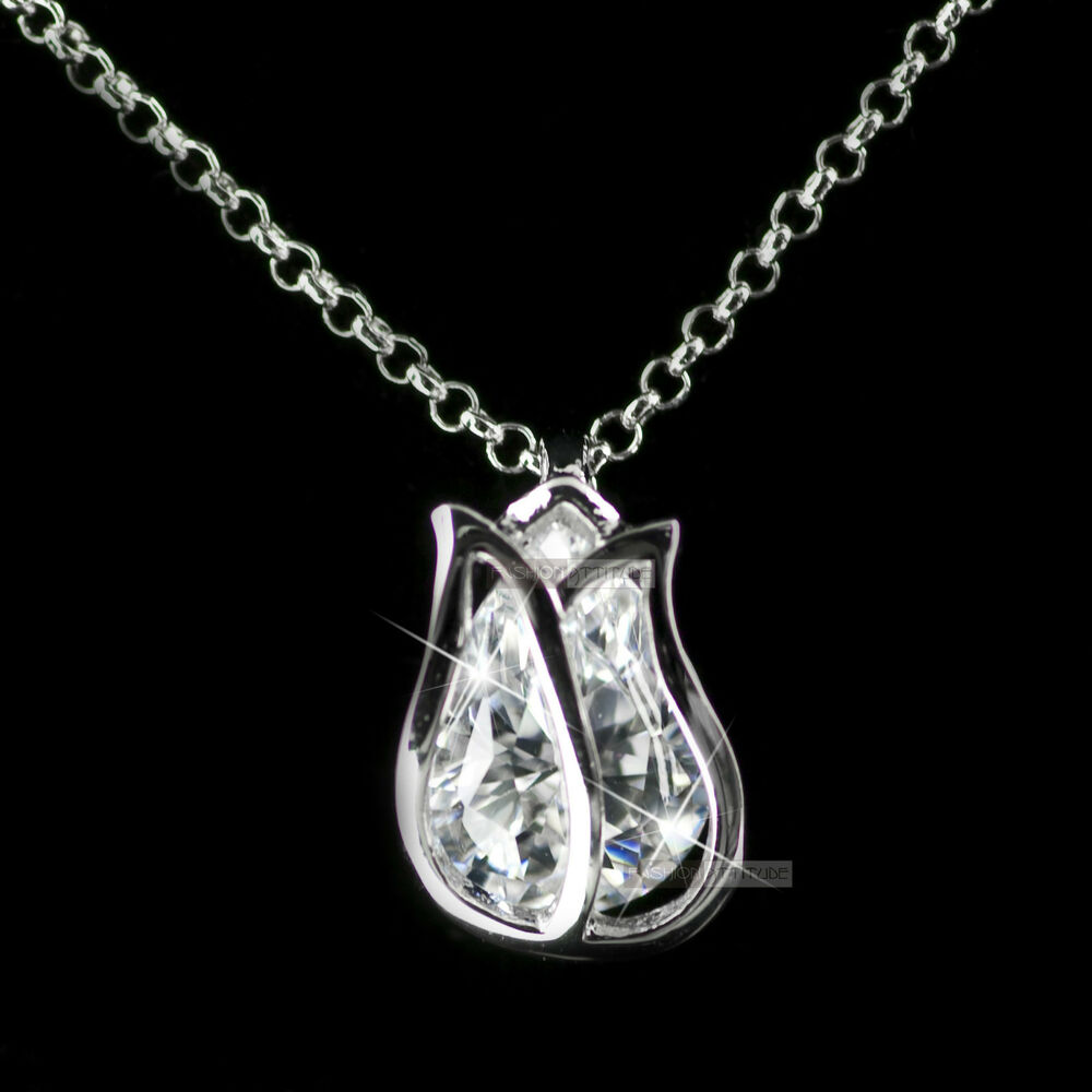 18k white gold filled made with swarovski tulip