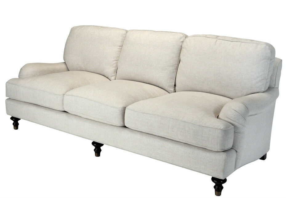 Westport English Roll Arm Sofa 100 Linen Off White Down