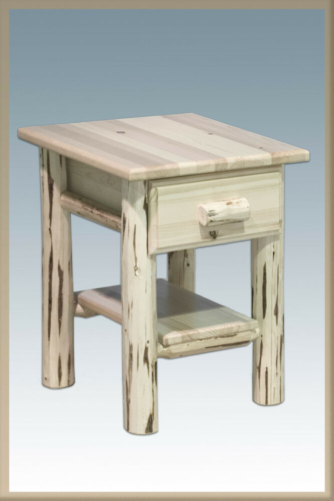 Rustic Log End Tables Solid Pine End Table Night Stand