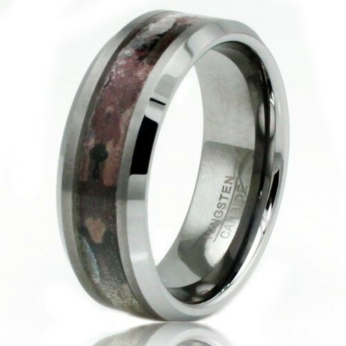 Men39s tungsten carbide earth mud camouflage wedding for Tungsten camo wedding rings