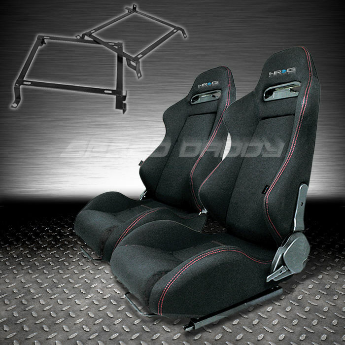 NRG 2X TYPE-R FULLY RECLINABLE BLACK RACING SEAT+SLIDER