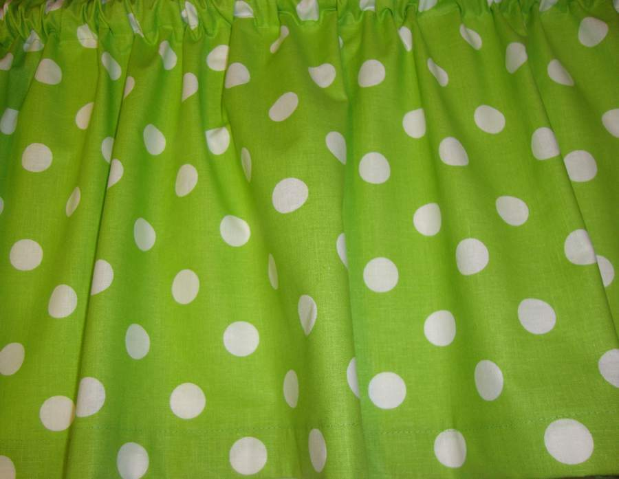 Lime Green With White Polka Dots Valance Curtain For Any Room Custom Made Topper