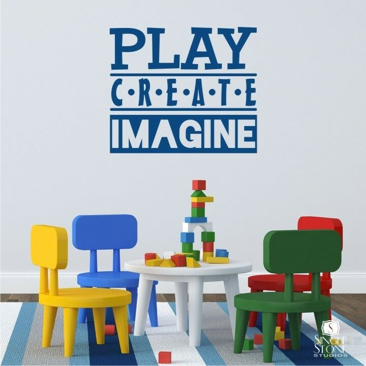 Play Create Imagine Wall Decal Quote Vinyl Wall Sticker