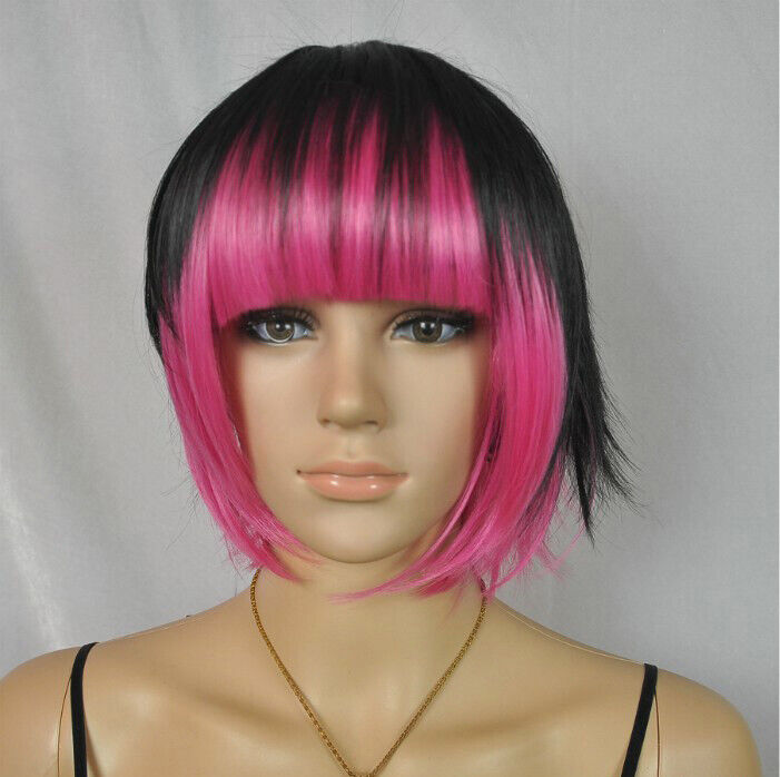 spicy hair style for sell fashion black mix pink bob bangs s 6086