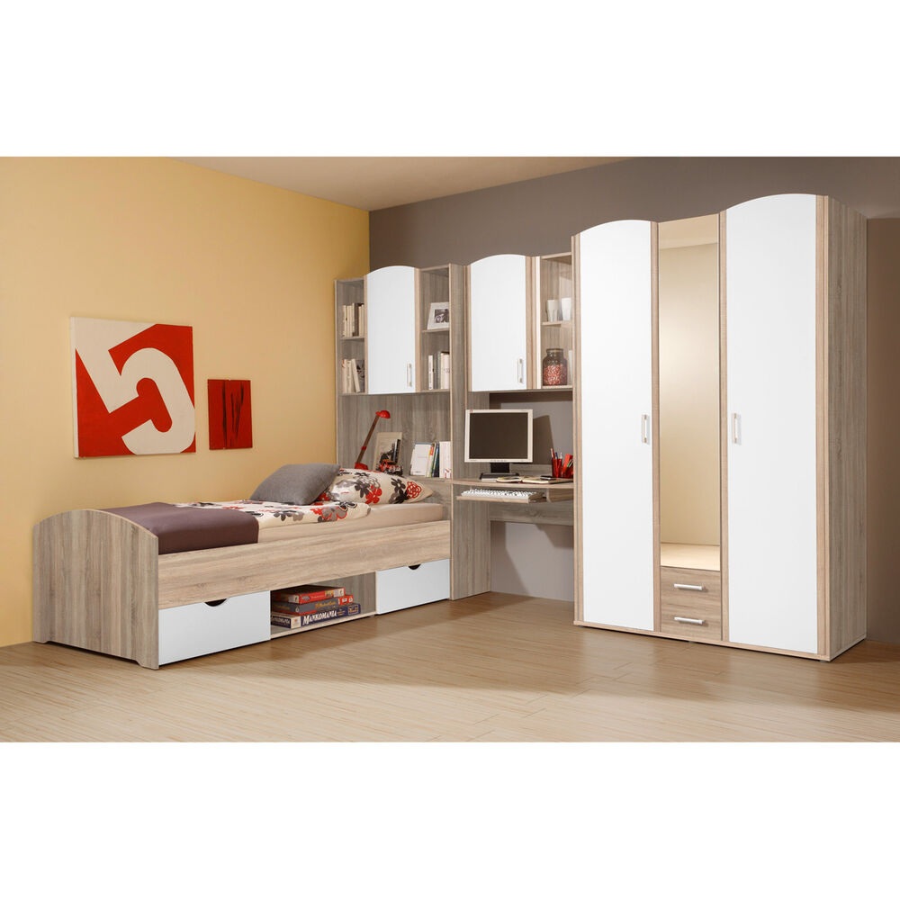 jugendzimmer nemo kinderzimmer bett schrank schreibtisch eiche sonoma wei ebay. Black Bedroom Furniture Sets. Home Design Ideas