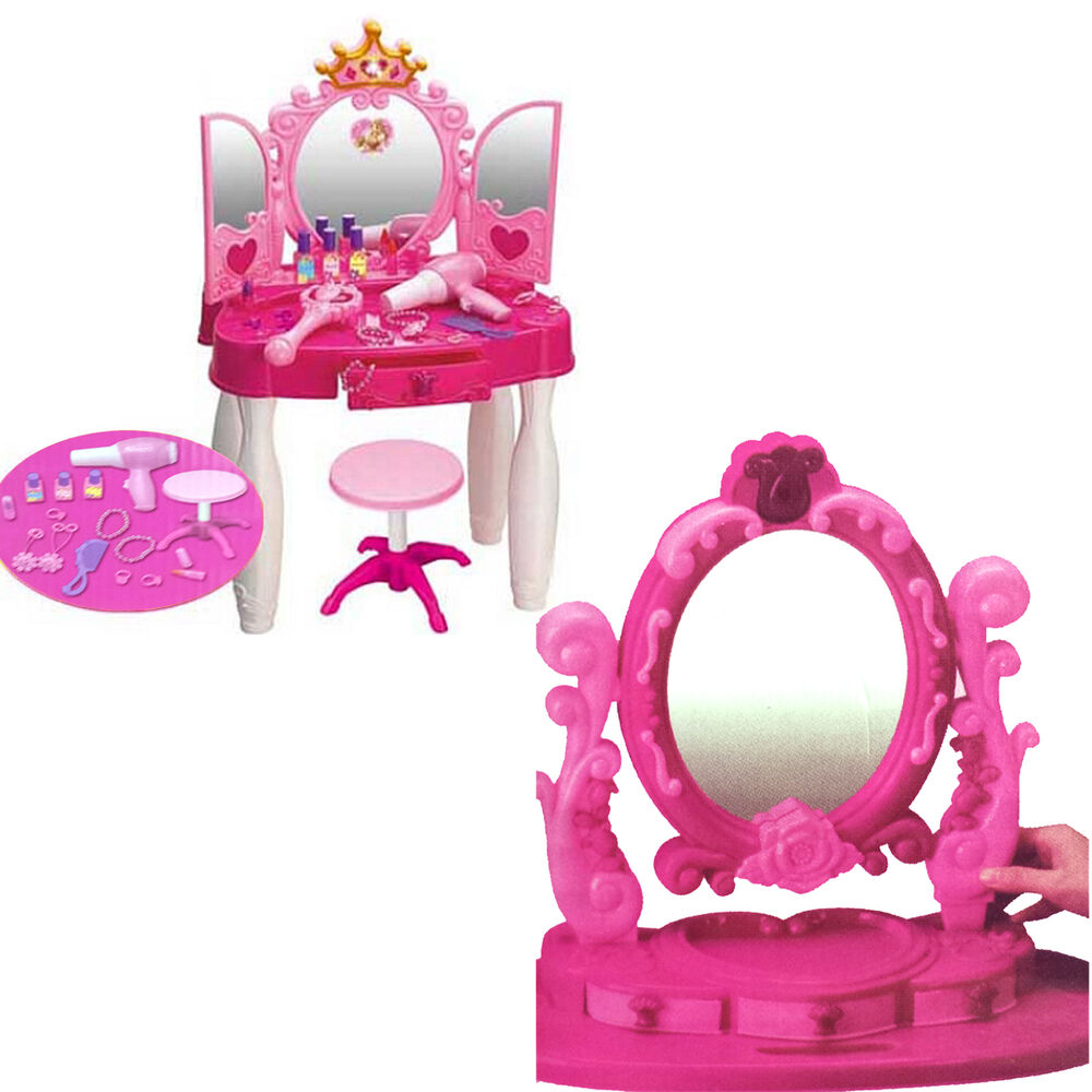 Girls Dressing Table Mirror Play Set Kids Glamour Mirror ...