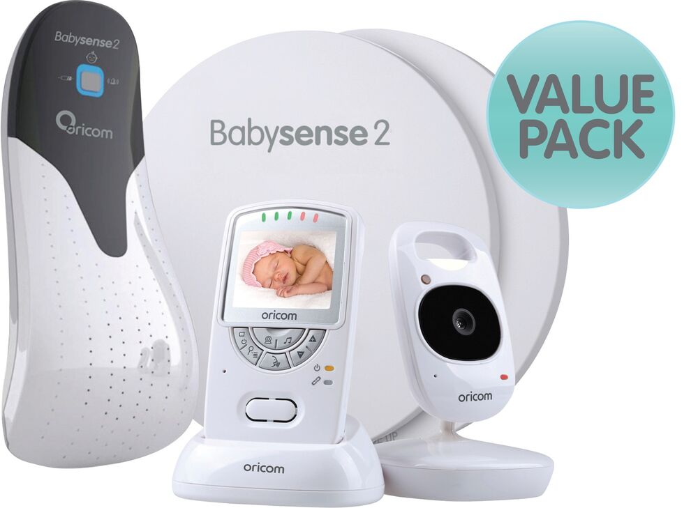 oricom secure 710 video baby monitor babysense 2 infant respiratory pack ebay. Black Bedroom Furniture Sets. Home Design Ideas