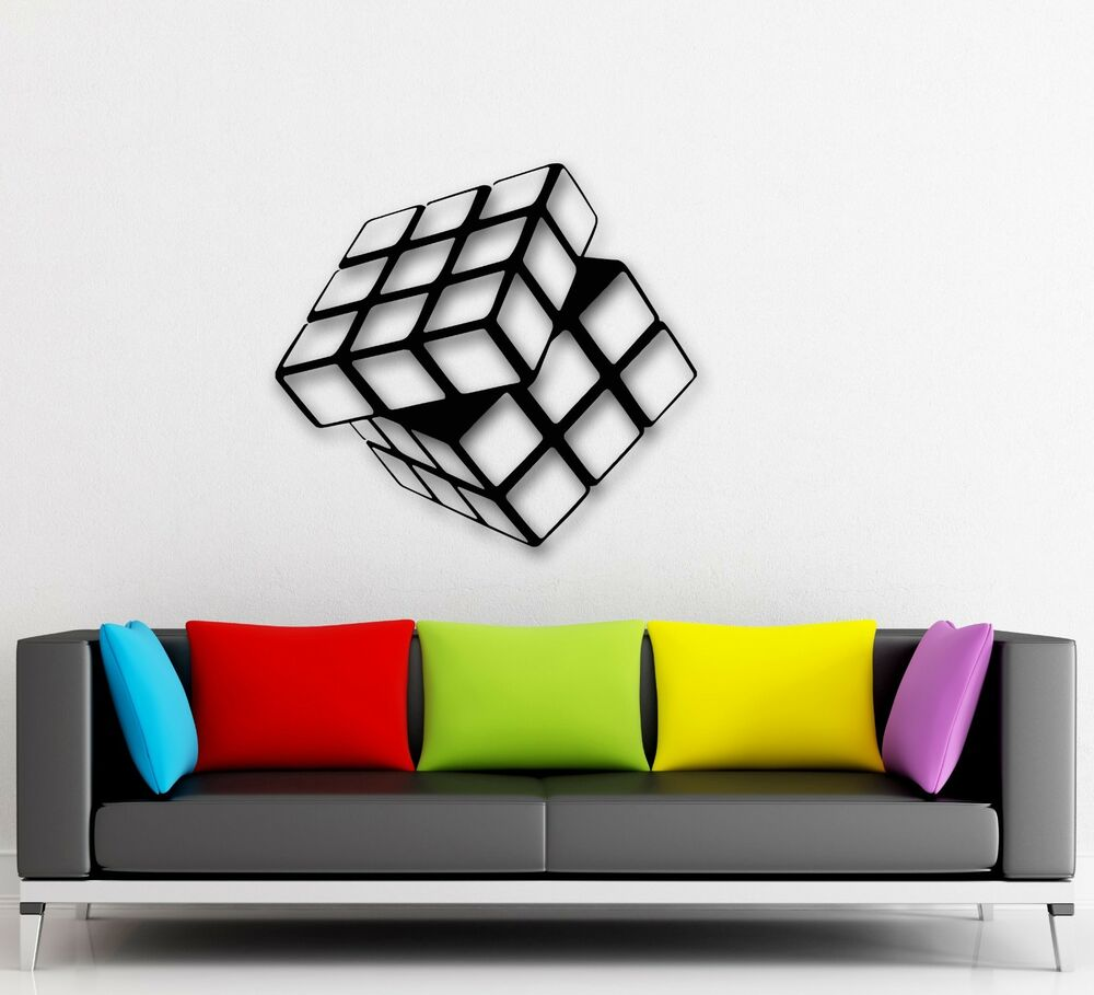 Wall stickers vinyl decal rubik 39 s cube for living room home decor arts ig1540 ebay - Cube wall decor ...