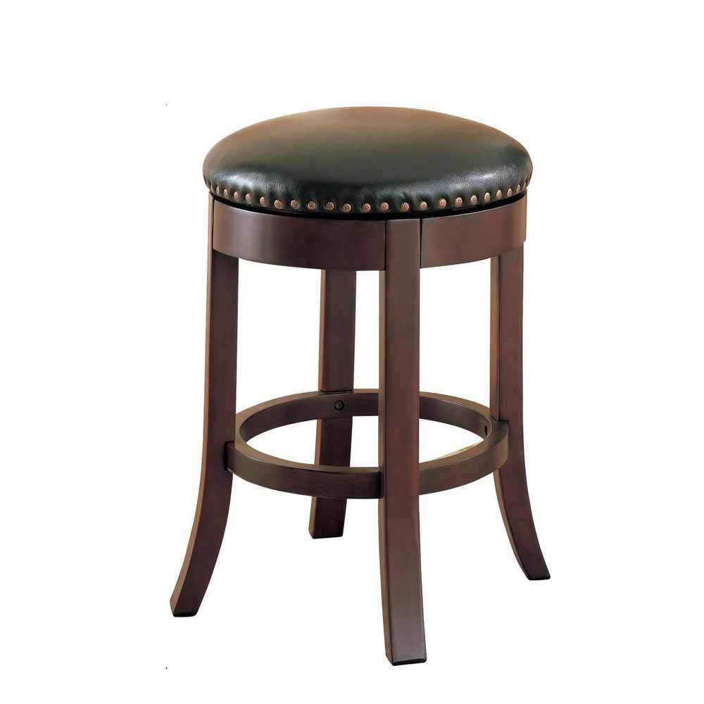 2pc Casual Round Wood Walnut 24quot Swivel Bar Stool Nailhead  : s l1000 from www.ebay.com size 1000 x 1000 jpeg 30kB