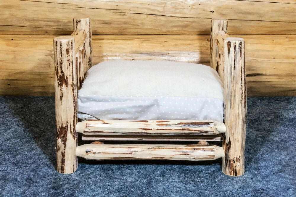 Small Raised Dog Beds Rustic Log Amish Made Lodge Cabin Furniture Handcrafted Ebay