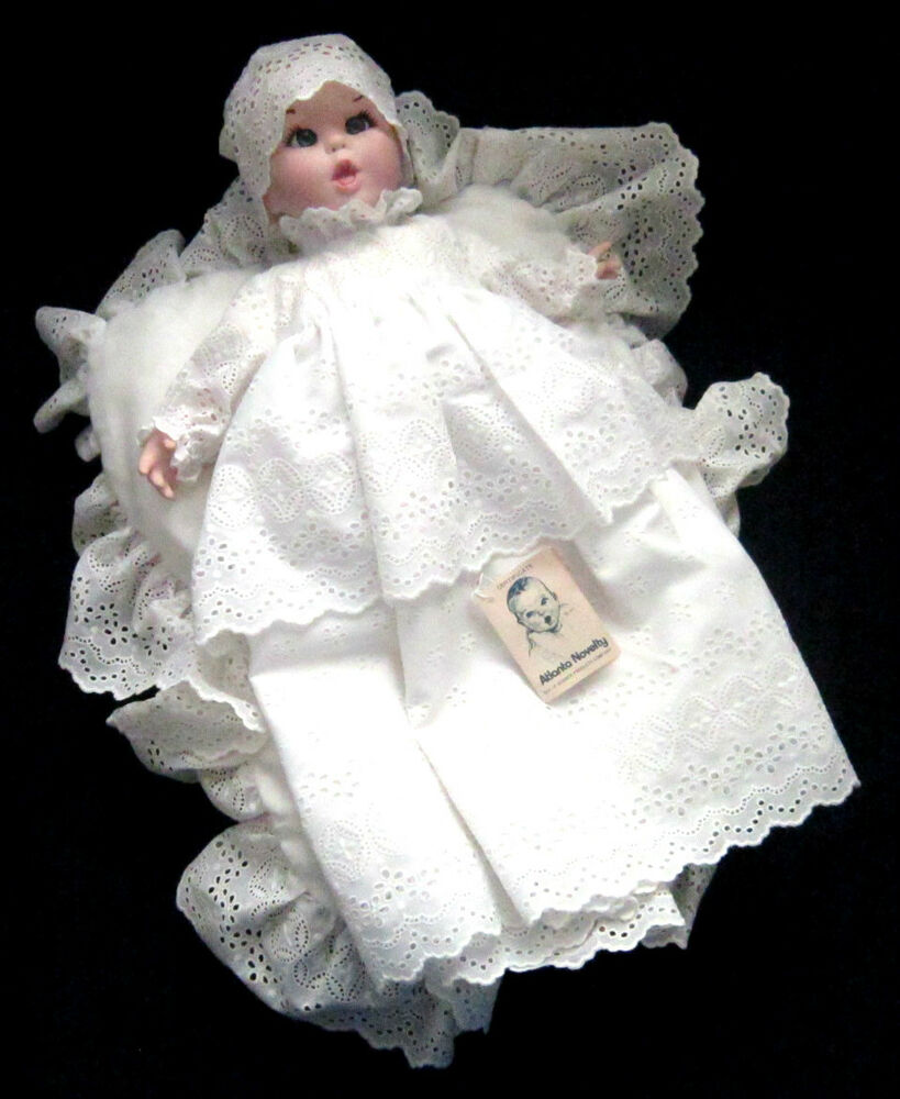 Vintage 1981 gerber bisque baby doll w christening gown for Making baptism dress from wedding gown