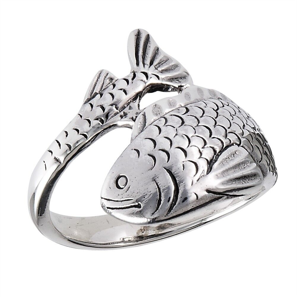 sterling silver fish ring wraparound style size 6 10 ebay