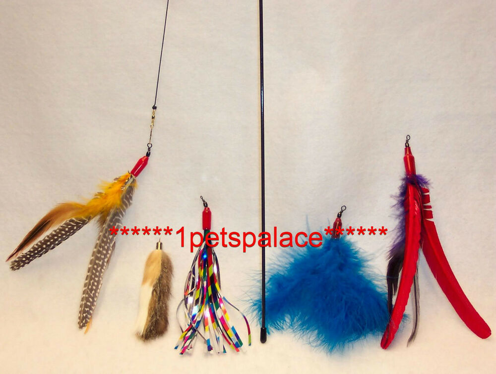 Da bird feather wand cat toy 4 attachment refills go cat for Cat wand toys