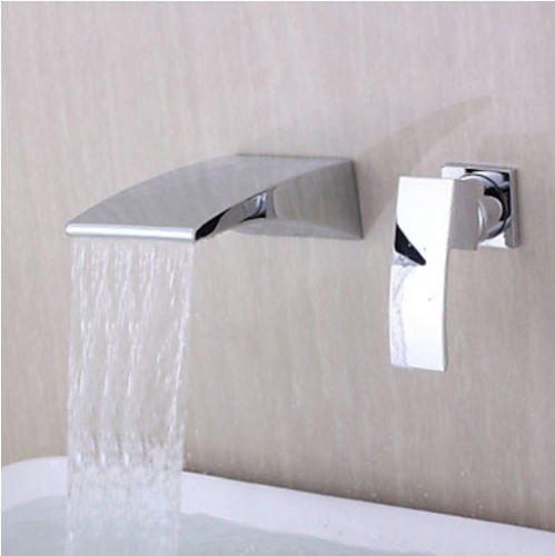 Bathroom Wall Mount Single Lever Basin Mixer Tap Chrome Waterfall Sink ...
