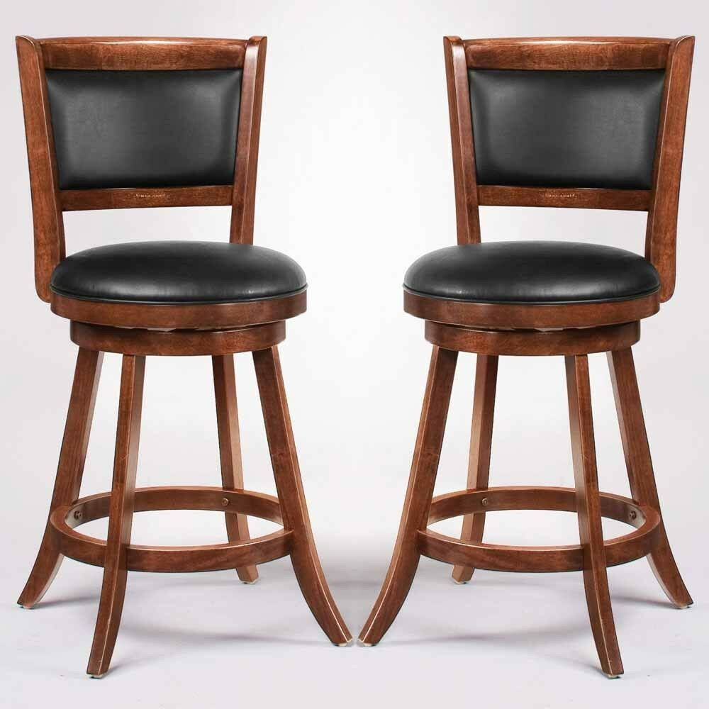 Swivel Wood Dining Chairs 24 Quot H Bar Stool Set Of 2 Espresso