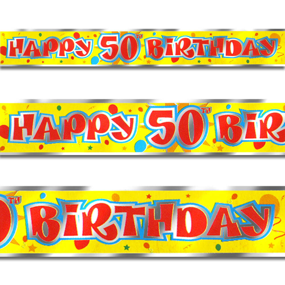 12ft Red Yellow Happy 50th Birthday Party Foil Banner