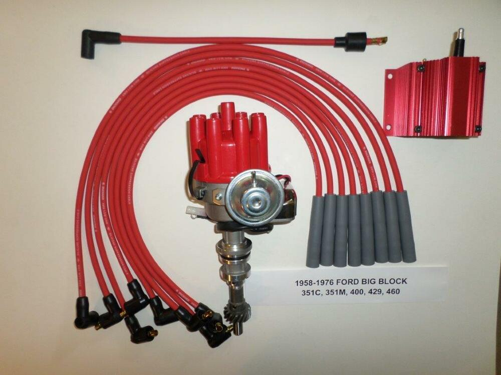 FORD BIG BLOCK 351C-429-460 RED Small HEI Distributor, Coil ...