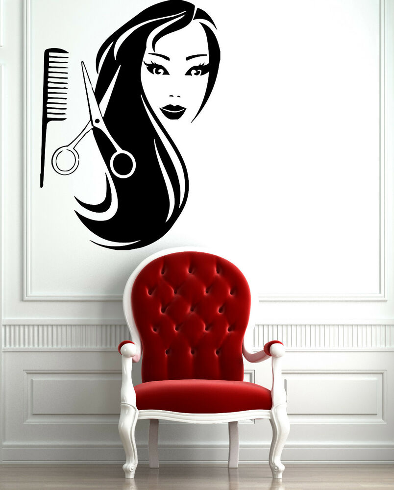 female face hot sexy hair spa salon mural wall art decor vinyl sticker z597 ebay. Black Bedroom Furniture Sets. Home Design Ideas