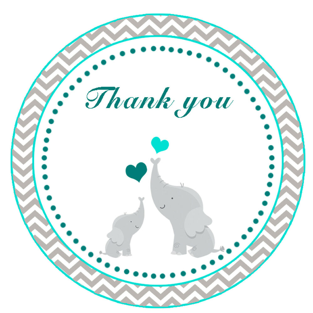 40 thank you label stickers elephant baby shower party