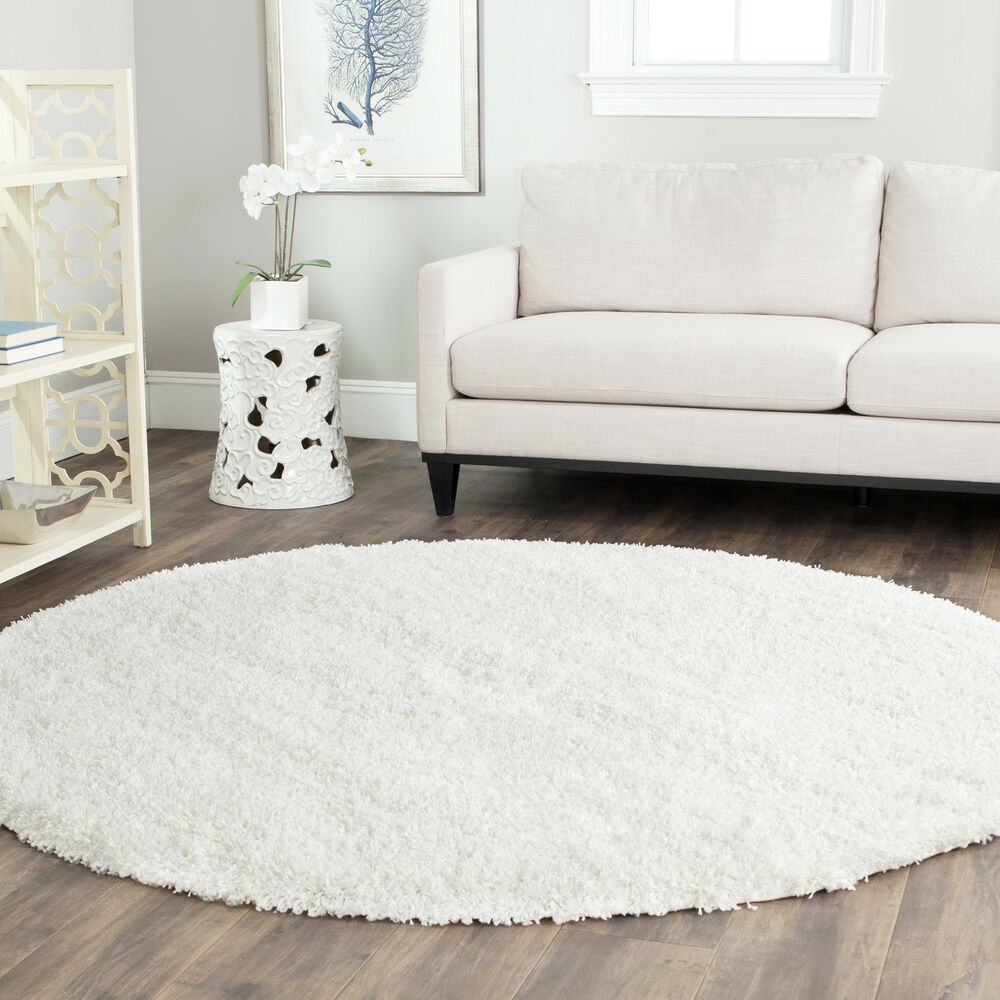 Power Loomed Solid WHITE Shag Area Rug 6' 7 Round