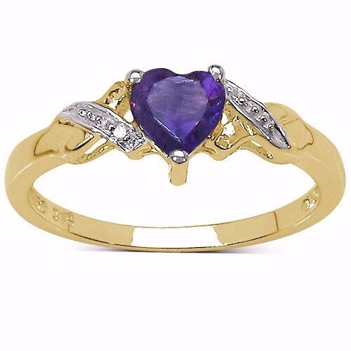 9CT GOLD HEART SHAPED AMETHYST DIAMOND ENGAGEMENT RING SIZES HIKLMOPQRS