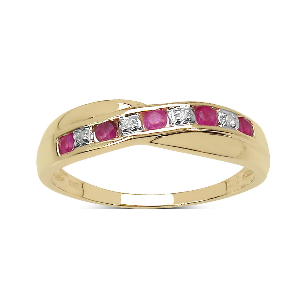 Ct Yellow Gold Ruby And Diamond Crossover Ring