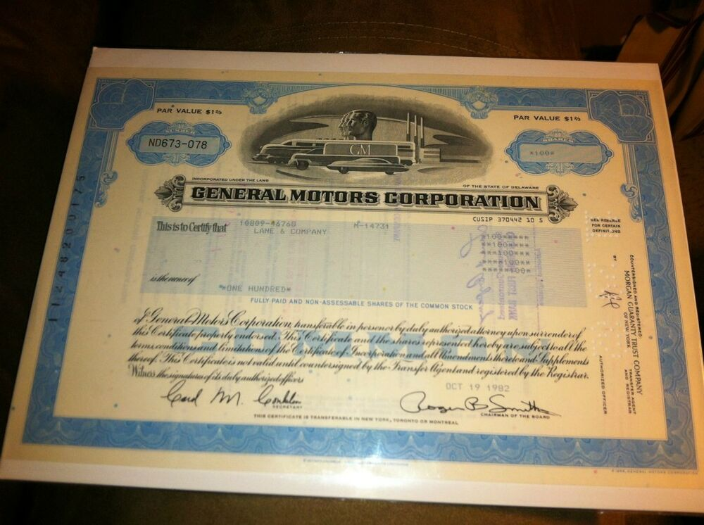 General motors blue deco vintage old stock ebay for General motors stock history