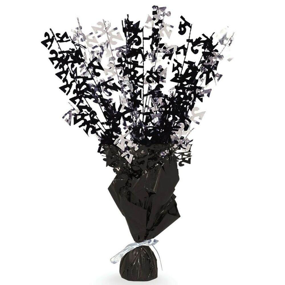 """21st Birthday Table Arrangements: 16"""" Happy 21st Birthday Black Sparkle Foil Weight Table"""