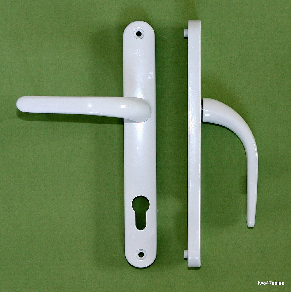 WHITE Quality SPRUNG Door Handle Upvc Pvcu Pvc Lock Lever Front Patio Cylinde
