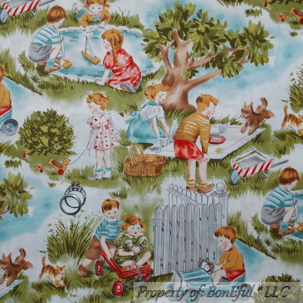 Boneful fabric fq cotton quilt baby central park child for Children s upholstery fabric
