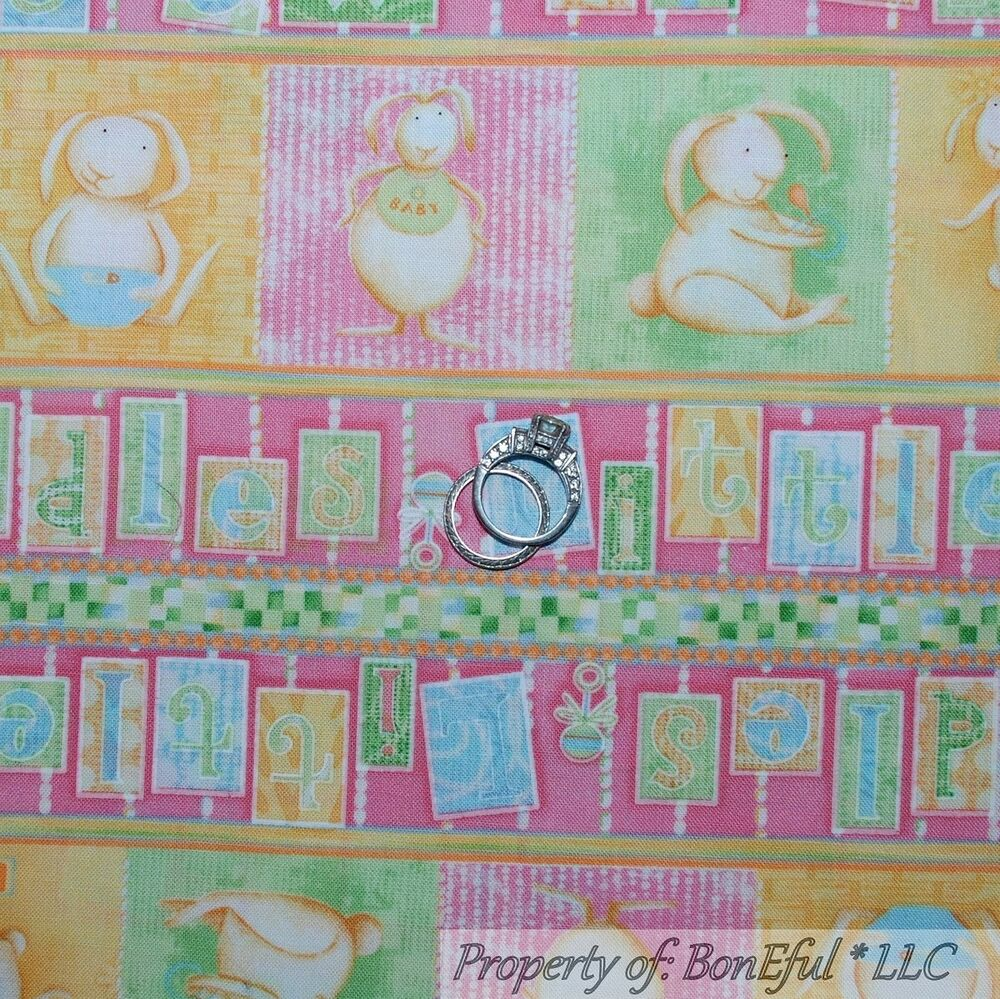 Boneful fabric fq cotton quilt pink square baby girl for Baby nursery fabric