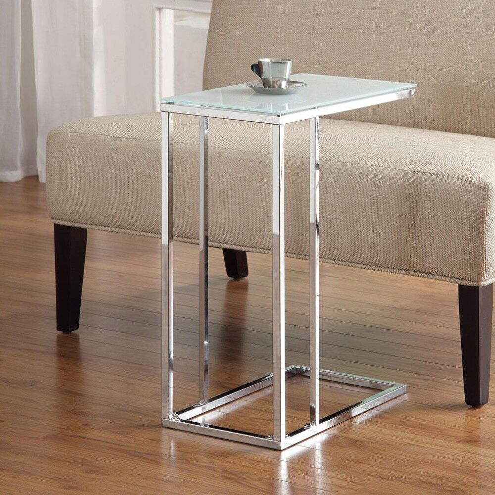 Accent Living Room Chrome Base Snack Side Stand Table Sofa