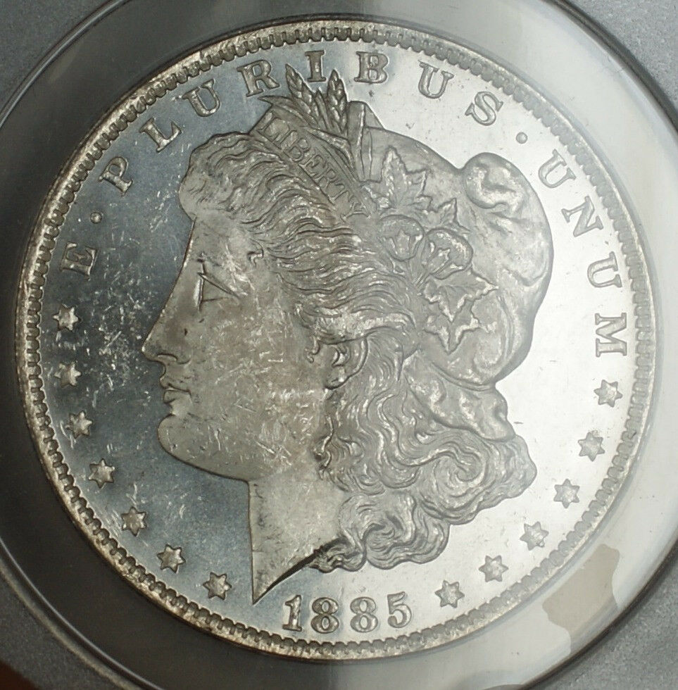 1885 O Morgan Silver Dollar Coin 1 Anacs Ms 63 Pl Proof